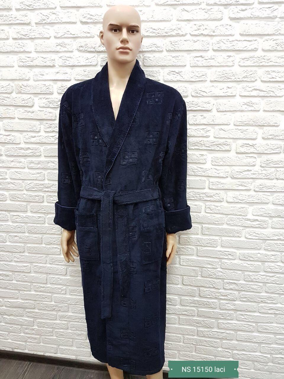 dd39446e55a6035 Халат мужской Трига жаккард длинный шалька L/XL, цвет: синий, Nusa-
